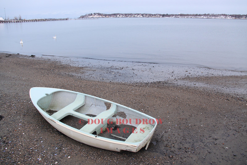 Salem, MA - Rowboat on the beach next to Derby Wharf, 1-15-09.