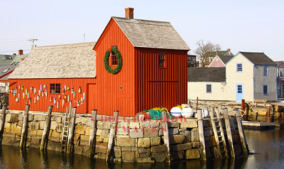 "Rockport, MA - This fishing shack is known by artists as ""Motif Number 1."" The original shack, built in the 1840s was destroyed during the Blizzard of 1978 and the current building is an exact replica of the original. ""Motif Number 2"" can be seen in the background, 1-17-09."
