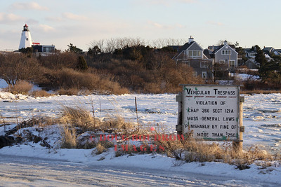 Plymouth, MA - End of King Arthur Road with Plymouth Light in the background, 1-16-09.
