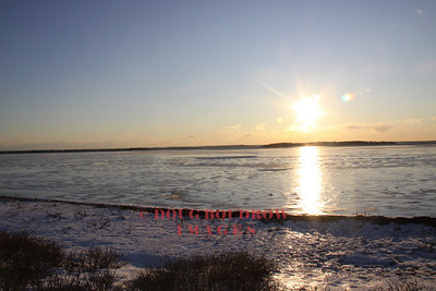 Plymouth, MA - Looking towards the frozen bay from king Arthur Road, 1-16-09.