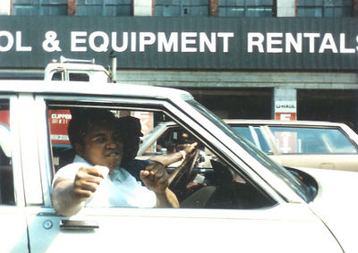 "Mohammed Ali in New York City doing the ""You, you! I want you!"" thing."