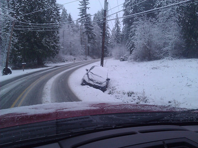 1/15/2012: Big Rock Road: 2, Cars: 0. Victim number two here. It was almost Big Rock Road 4, Cars 0, but I managed to avoid the jackass that almost took me out in a head-on by easing myself into the oncoming lane while Mr. Jackass slid across the road in front of me. He then missed a huge tree by a couple of feet, but did manage to take out a sign post. I think I will stay in for a while now and watch Supercross, then the Giants game on the DVR.