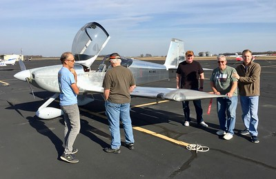Usual suspects looking over newly completed RV-14A at Lancaster, TX (KLNC)