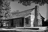 Old Grapevine Log Cabin in Black and White