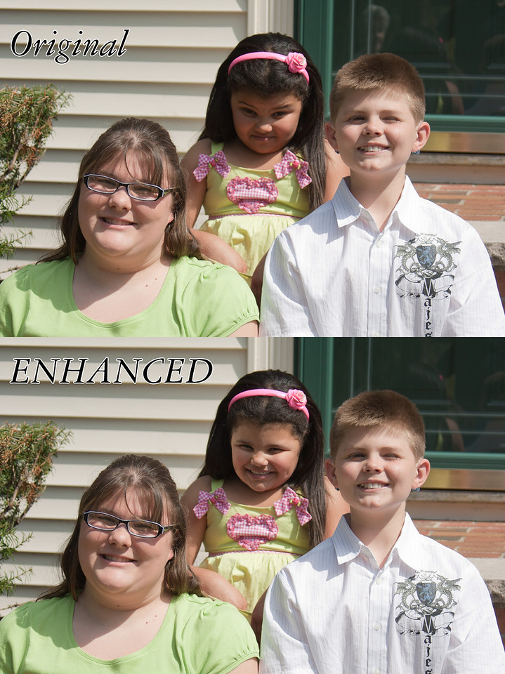 This is from a family portrait I did. Children can be notoriously difficult to photograph, especially groups of siblings. This image was a simple head swap of the little girl in the middle, and a removal of Grandma's reflection from the glass door.