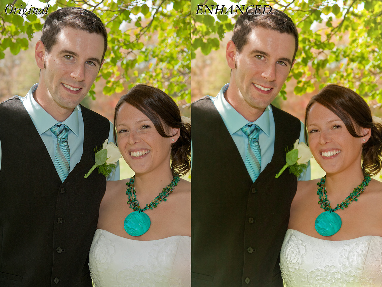 It's a little hard to see some of the changes in this one in a side by side resolution, but many of them are easy to see. First, I lightened the overall forground a bit, whitened and lightened teeth and eyes, and called more detail into the dress. Then I removed many freckles from the bride, and some pimples/spots from the groom. Finally, I enhanced the details and colors of the background.