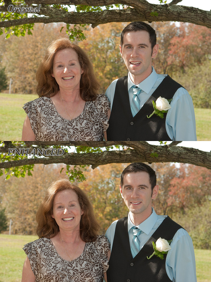 This is a photo I took. The groom was posing with family. In addition to the partial head swap, I did some face brightening, some eye lightening, and finally some teeth whitening.
