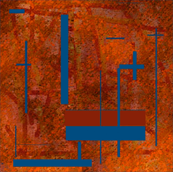 rust and blue abstract