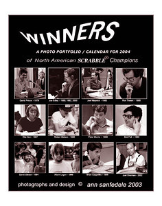 This is a small poster of the cover of the 2004 WINNERS calendar showing all 12 Champions who won National Scrabble Championships between 1978 through 2002.