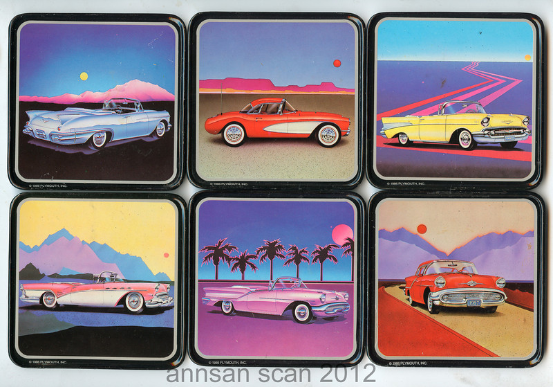 """Six """"57 heaven"""" coasters   ©1986 by Plymouth. <p> Reading across then down  Cadillac,Corvette, Chevy, Buick, Oldsmobile and another Oldsmobile <p>The coasters are in a metal box. Apparently these are cars that were in Dick Clark's vintage car museum in Bramson, Mo.  The box is black with """"57 heaven"""" logo on the front. each coaster is3 5/8"""" wide and 3 1/2"""" tall.  Cork backed."""
