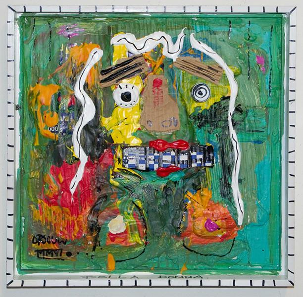 "John Van Orsouw painting  16 1/2"" square mixed media"