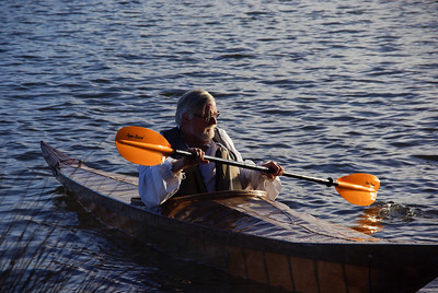 Eric tries out his handmade kayak