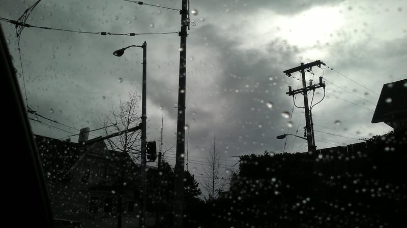 Through Raindropped Window