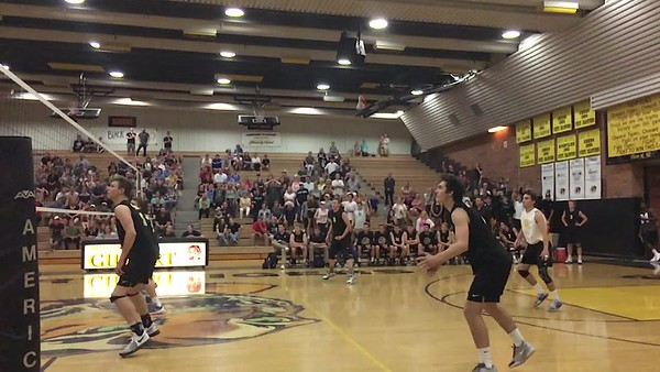 Parker Smith with the Block! Highland at Gilbert Tigers Boys Volleyball.