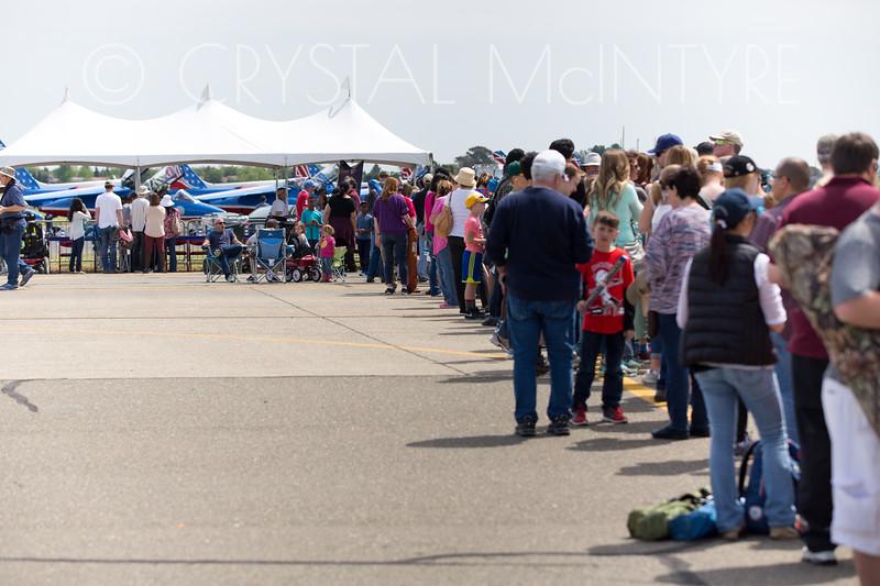 Line to meet the Patrouille de France flight display team