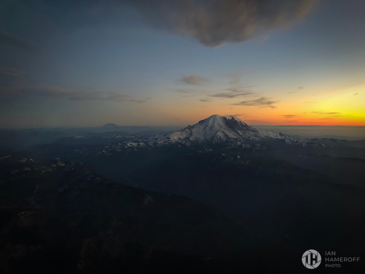 The Sun Sets Behind Mount Rainer