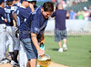 Mark Cuban and the Larry O'Brien Trophy at the Reebok 2011 Heroes Celebrity Baseball Event