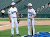 Former Dallas Star Mike Modano chats with Tony Zazza at the Reebok 2011 Heroes Celebrity Baseball Event