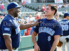 Reebok Actor Michael Clarke Duncan and Mavs owner Mark Cuban have a laugh at the Reebok 2011 Heroes Celebrity Baseball Event