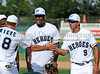 Former Dallas Star Mike Modano and Dallas Cowboy Martellus Bennett at the Reebok 2011 Heroes Celebrity Baseball Event