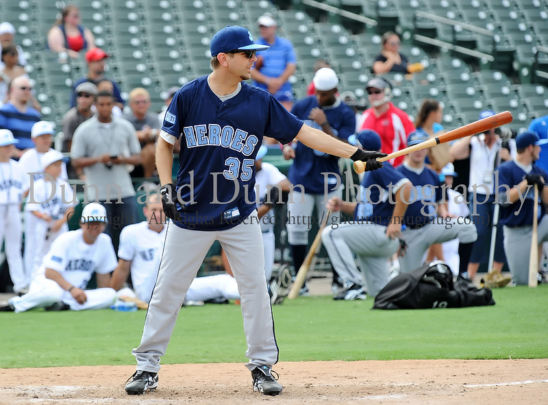 "Radio star Jeff ""Skin"" Wade bats at the Reebok 2011 Heroes Celebrity Baseball Event"