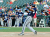 Kevin Boscamp hits a home run in the Reebok 2011 Heroes Celebrity Baseball Event