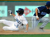 Kevin Healy slides into second at the Reebok 2011 Heroes Celebrity Baseball Event
