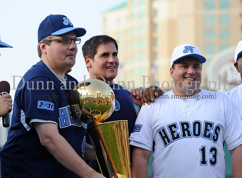 Donnie Nelson, Mark Cuban and Danny Bollinger at the Reebok 2011 Heroes Celebrity Baseball Event