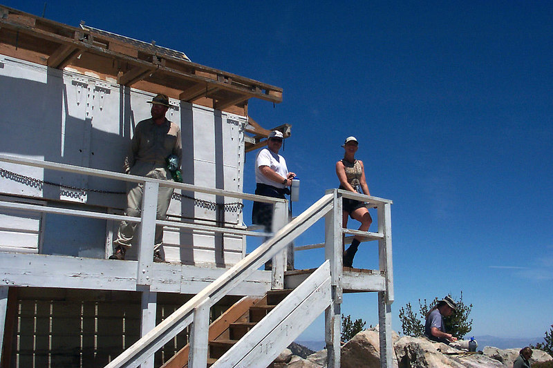 On the lookout tower on Tahquitz Peak.