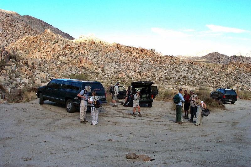 The group getting their stuff ready for the hike at the Mortero Palms Oasis trailhead, the start of the hike.