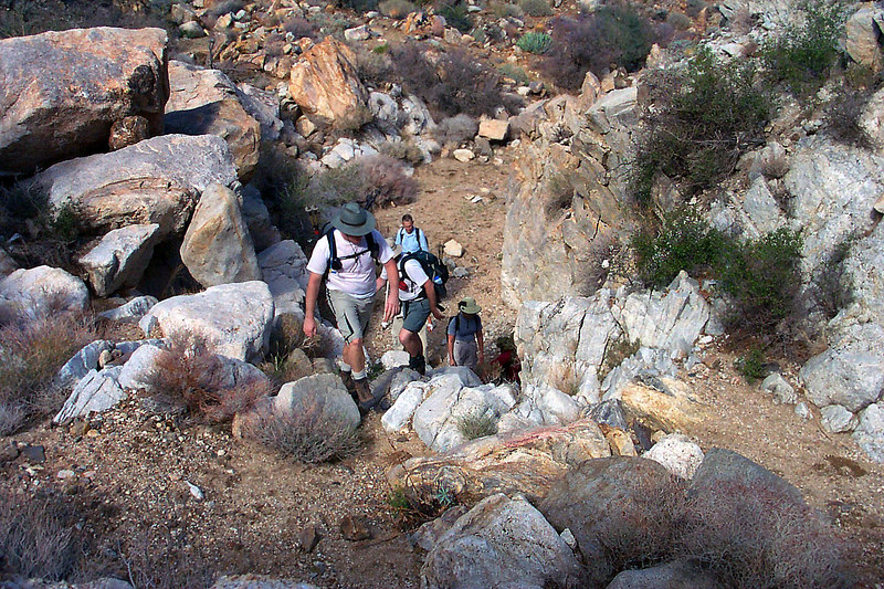 Looking down on the rest of the group as we start up a steep canyon.