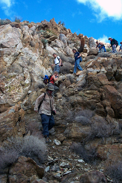 The first steep down climbs.