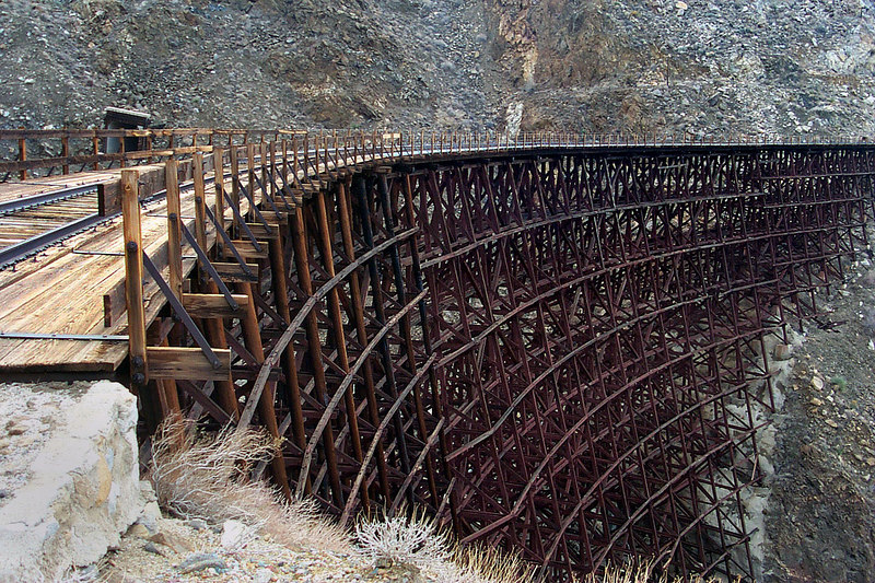 This wooden trestle is 600 feet long and 200 feet high.