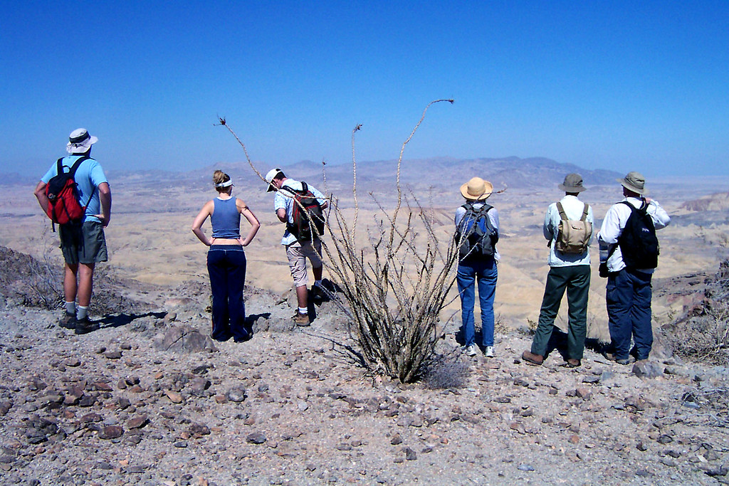 The gang stops for a view of the Carrizo Badlands.