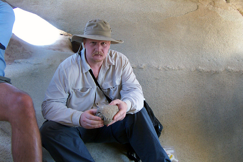 Dave checking out one of the fossilized shells.