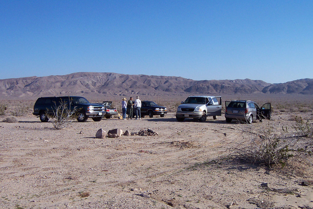 The gang is all here. Our meeting spot was on S2 at the Anza-Borrego park boundary near the town of Ocotillo. This was also where I camped Friday night.