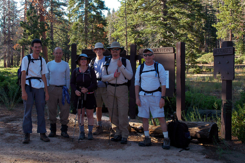 Jay, Abe, Kathy, Darrell, Scott and me, Joe at the Fish Creek trailhead at 8,100 feet.