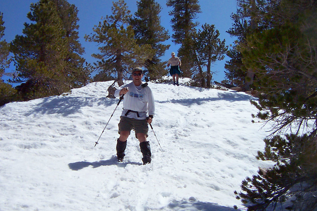 Jamie boot sking on the ridge. We finally reached the ridge that leads to Dobbs Peak.