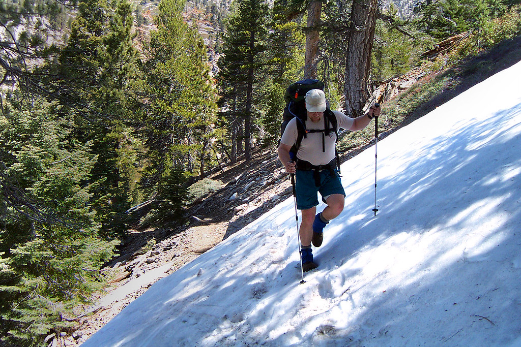 We started to get into some icy snow past Halfway Camp at about 8,500 feet.