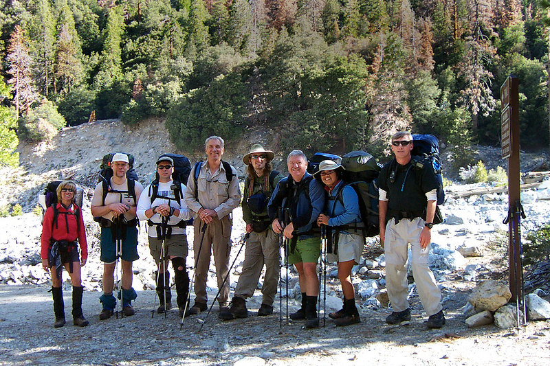 Group shot at the Vivian Creek trailhead at 6,300 feet, the start of the hike. Sooz, John, Jamie, Terry, Rob, Ron, Juliet and me Joe. Kathy, Ken and Gary also came along on this hike, they got a later start and met us at High Creek, our camp site for the night.