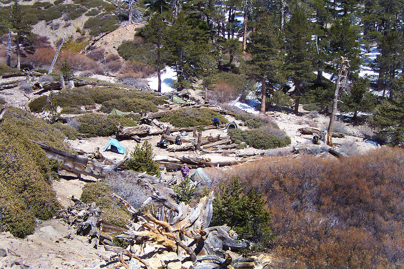 After setting up camp, Sooz, Kathy, Gary, Jamie, John and myself headed off for Dobbs Peak. We started the hike by climbing up the slope next to our camp, this shot is looking down on our camp as we start up the slope.