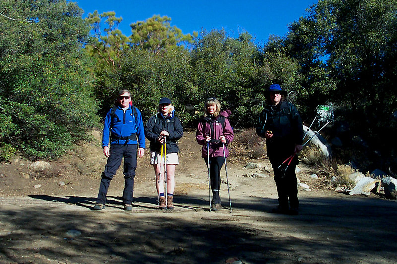 Joe(me), Kathy, Sooz and Earnie at the trailhead in Fobes Canyon. The plan is to hike  on Pacific Crest Trail from Foboes Canyon to Hwy 74.