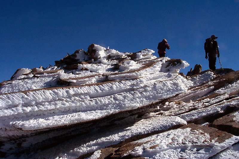 Ice formations on the south side of Pyramid Peak.