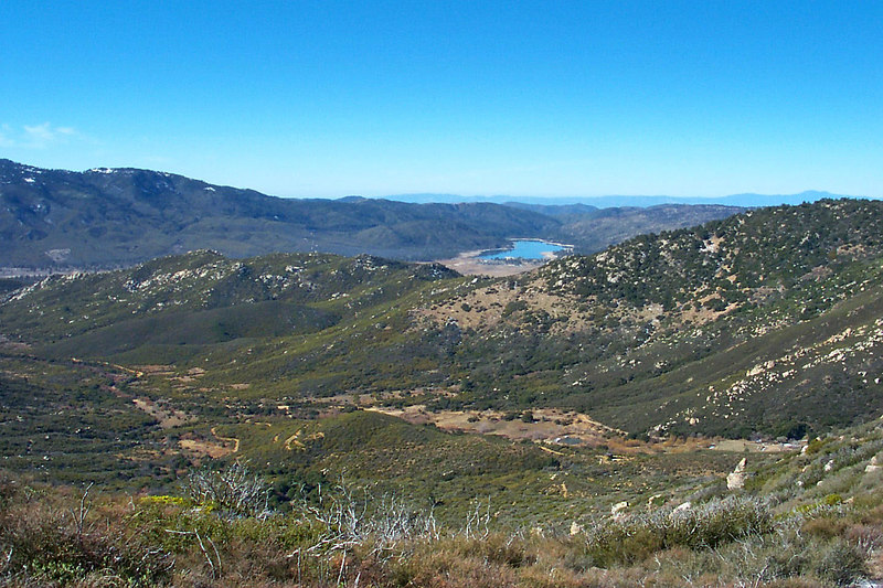 Looking back down Fobes Canyon and Lake Hemet a short way into the hike.