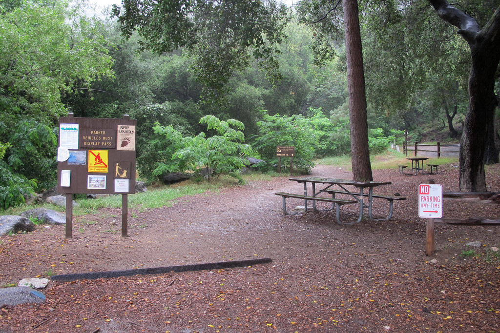 Picnic area next to the parking lot.