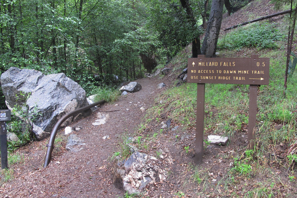 At the trail head, it's only a half mile hike to the falls.