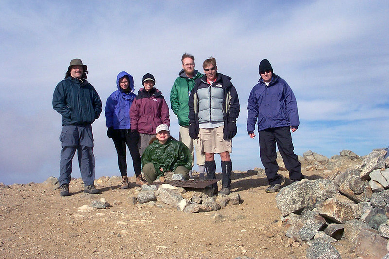 The gang on top, Earnie, Susan, Sooz, Emily, Ed, Bill and Me. On the summit we met up with some other folks we knew.