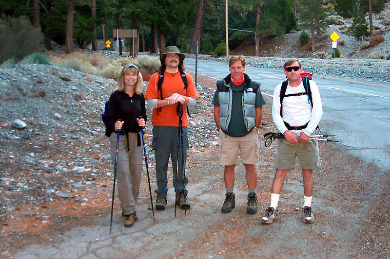At the Manker Flats trailhead, Sooz, Earnie, Bill and me, Joe. We'll be hiking up the Ski Hut Trail to the summit.