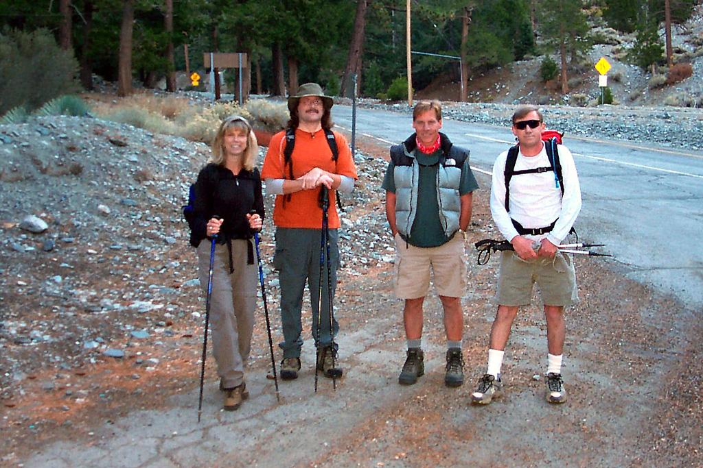 At the Manker Flats trailhead, Sooz, Earnie, Bill and me, Joe. We'll be hiking up the Ski Hut Trail to the summit.