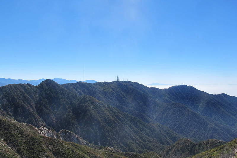 To the east, on the left is Occidental Peak 5,732', Mount Wilson 5,710' with the antenna farm and Mount Harvard 5,441'